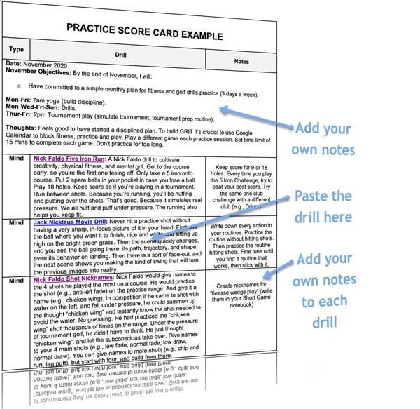 golf drills practice planner score card